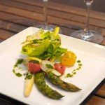 Grilled Green Asparagus & Poached White Asparagus on Cafe Roma Valentine's Day Menu 2013